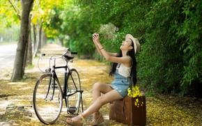 Picture girl, bike, smile, Park, bouquet, suitcase, Asian