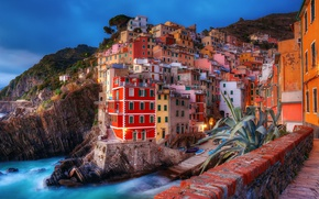 Wallpaper the city, home, Italy, light, the evening, morning, sea