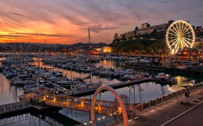 Picture lights, England, home, boats, Ferris wheel, harbour, Torquay
