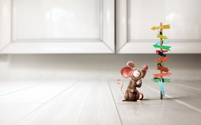 Wallpaper minimalism, Little Rat, mouse, Bruno Tornisielo, the situation, choice, art