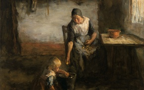 Picture oil, picture, canvas, genre, Jacob Simon Hendrik Kever, Potato Peeler
