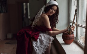 Picture look, girl, pose, dress, window, pot, brush, shoulder, curls, Leonid Mochulsky