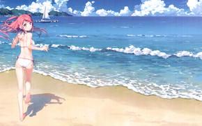 Picture sand, sea, summer, the sky, clouds, shadow, yacht, horizon, sail, bikini, vacation, runs, red hair, …