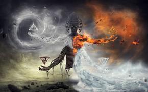 Wallpaper water, fiction, fire, earth, sleep, mystic, fantasy, the air, deity, akasha, burning look, four elements