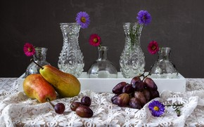 Picture grapes, pear, vases, asters