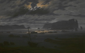 Picture landscape, night, boat, picture, Caspar David Friedrich, Northern Sea in the Moonlight