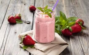 Picture leaves, berries, Board, food, strawberry, Bank, mint, napkin, yogurt, Natasha Breen