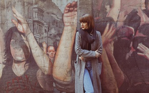 Picture face, wall, model, hair, coat