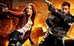 Picture cinema, fire, girl, sword, gun, pistol, logo, weapon, woman, Resident Evil, man, Umbrella, movie, ken, …