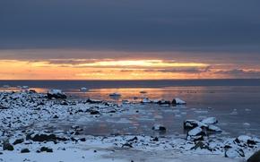 Picture beach, sunset, seascape, winter
