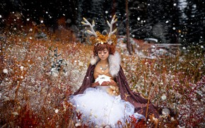 Wallpaper Winter Sawbuck, snow, girl, horns, Lichon
