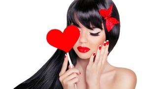 Picture face, butterfly, hands, makeup, brunette, hairstyle, white background, beauty, red, heart, Valentine's day, manicure