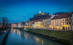 Wallpaper Slovenia, river, the evening, Ljubljana, lights