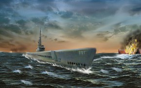 Picture sea, wave, the explosion, war, ship, submarine