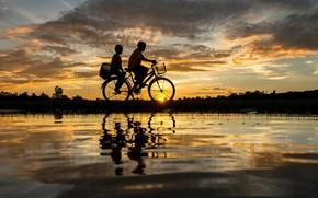 Wallpaper bicycle, twilight, sky, landscape, nature, Sunset, water, clouds, evening, couple, boys, dusk, reflection, silhouette