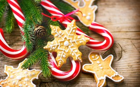 Picture holiday, cookies, lollipops, treats, fir-tree branches