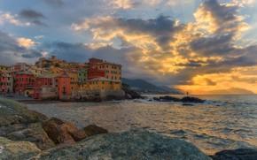 Picture sea, sunset, coast, building, home, Italy, Italy, Italian Riviera, Genoa, Liguria, Liguria, Gulf of Genoa, …