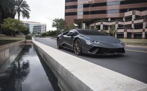 Picture Lamborghini, City, Gray, VAG, Huracan, Sight
