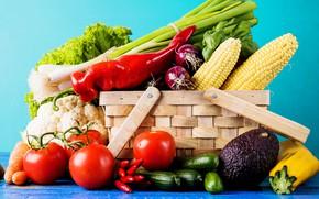 Picture greens, basket, vegetables