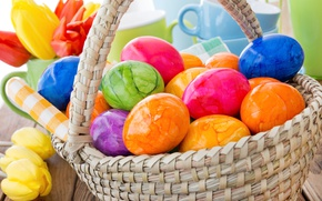 Wallpaper spring, basket, decoration, colorful, Easter, Easter, tulips, tulips, happy, the painted eggs, spring, flowers, eggs, ...