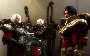 Picture girl, rendering, sword, armor, Warhammer, Adept Sororitas, armor, Warhammer 40k, Battle Sisters