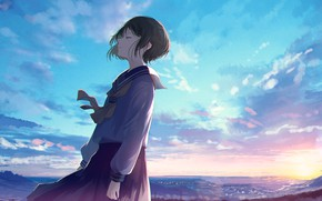 Picture the sky, girl, nature