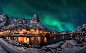 Picture mountains, night, lights, Northern lights, Norway, the village