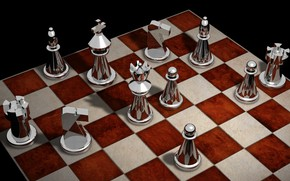 Wallpaper rendering, figure, Board, chess
