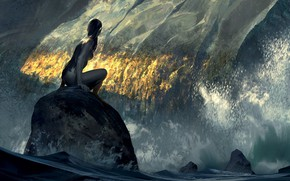 Picture girl, squirt, hair, stone, body, Water