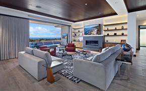 Picture design, sofa, carpet, furniture, TV, window, fireplace, living room
