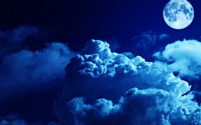 Picture the sky, clouds, light, night, the moon, stars