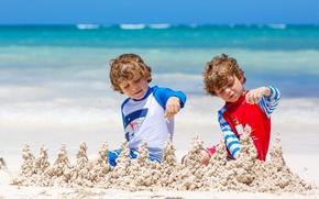 Picture sand, sea, children, shore, boy, beach, sea, sand, boys