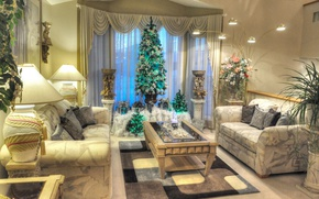 Wallpaper Christmas, living room, lamp, table, plants, holiday, New Year, sofa, picture, flowers