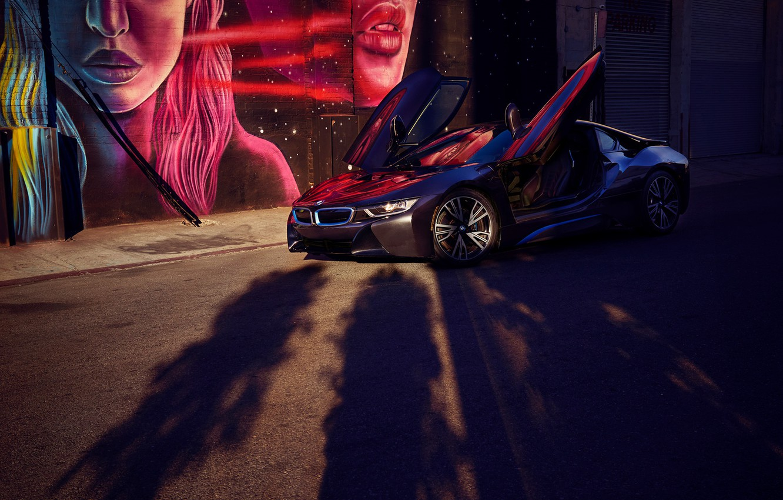 Photo wallpaper machine, trees, view, art, shadows, BMW i8
