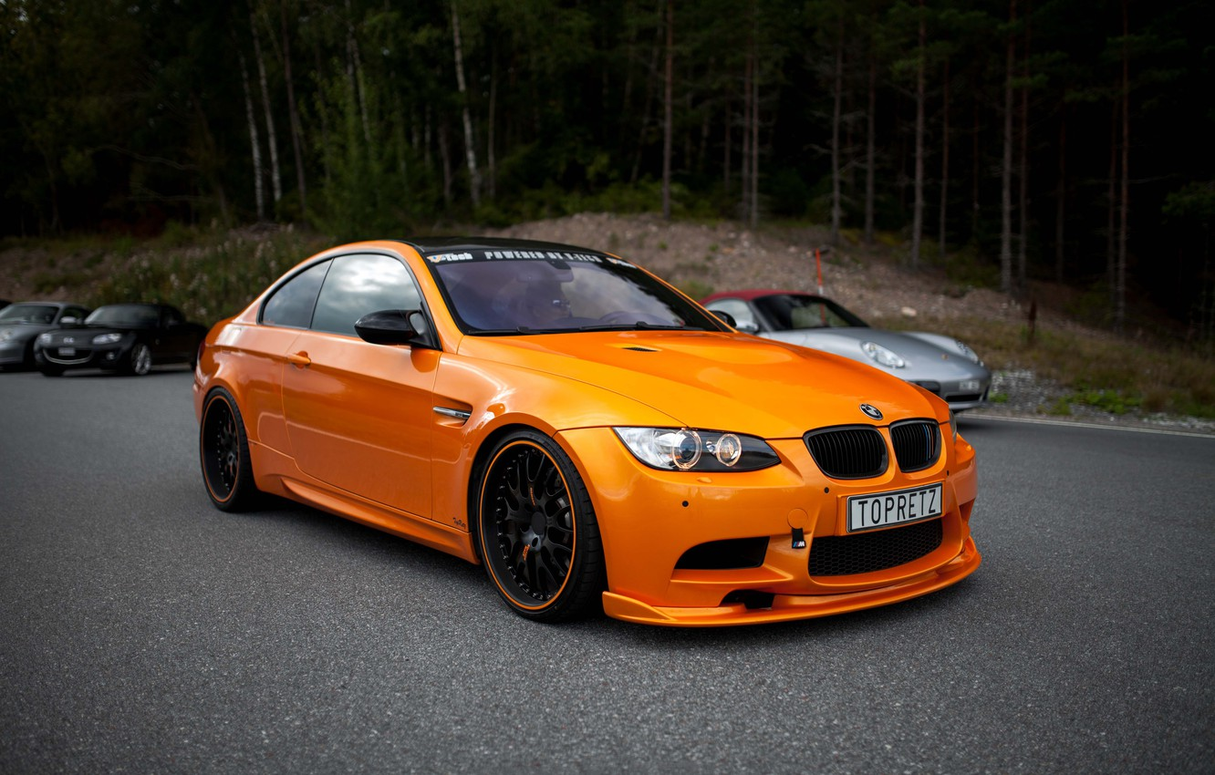 Photo wallpaper BMW, BMW, Orange, Orange, e92, Cars, Coupe