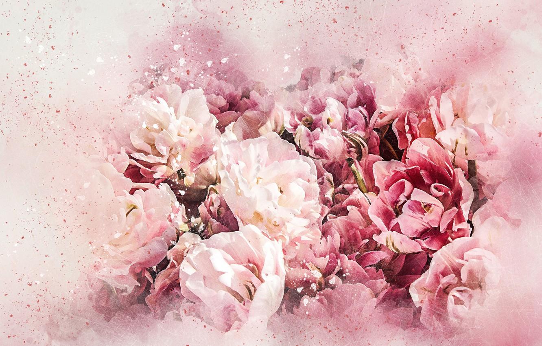 Photo wallpaper flowers, bouquet, picture, watercolor
