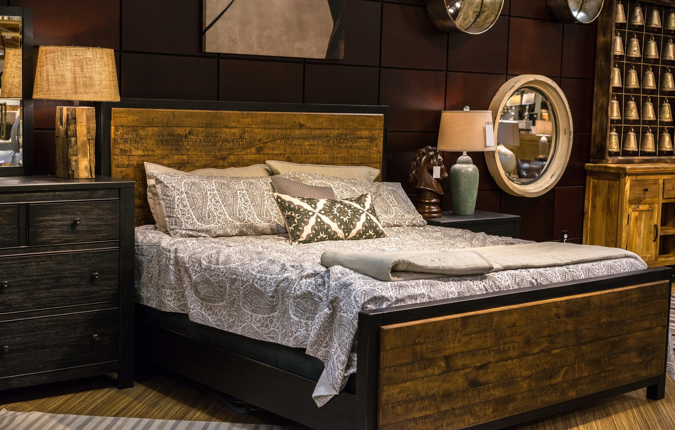 Photo wallpaper design, lamp, bed, pillow, mirror, bed, bedroom, chest