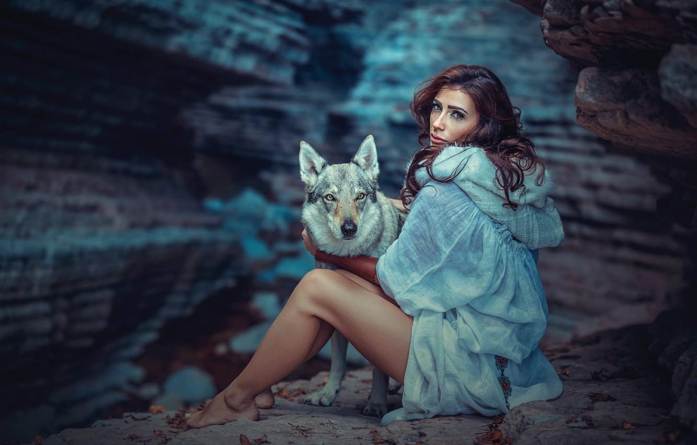 Photo wallpaper girl, dog, cave