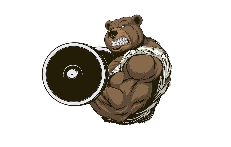 Photo wallpaper bear, mouth, fangs, muscle, rod