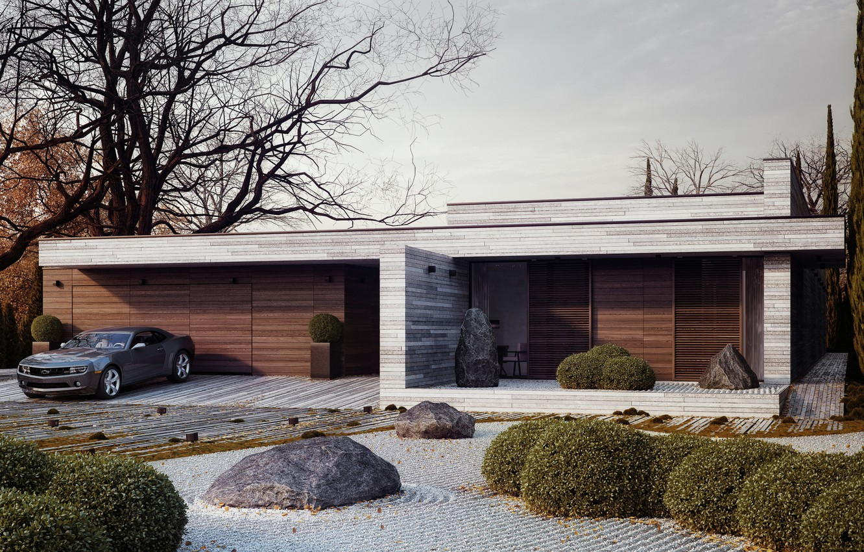 Photo wallpaper design, house, stones, tree, Chevrolet, Camaro, the bushes, Horizontal, Michal Nowak