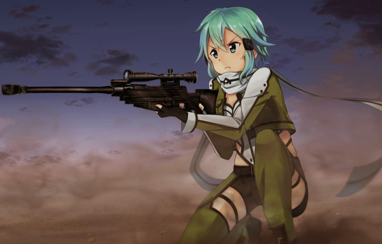 Photo wallpaper game, anime, pretty, sniper, asian, rifle, cute, manga, pretty girl, scarf, japanese, Sword Art Online, …