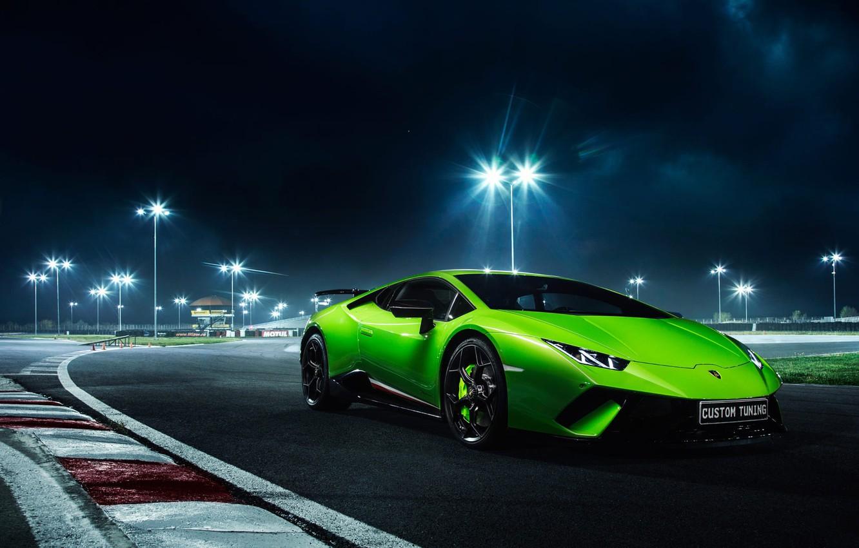 Photo wallpaper Lamborghini, Green, Night, Track, Performante, Huracan, LP610-4