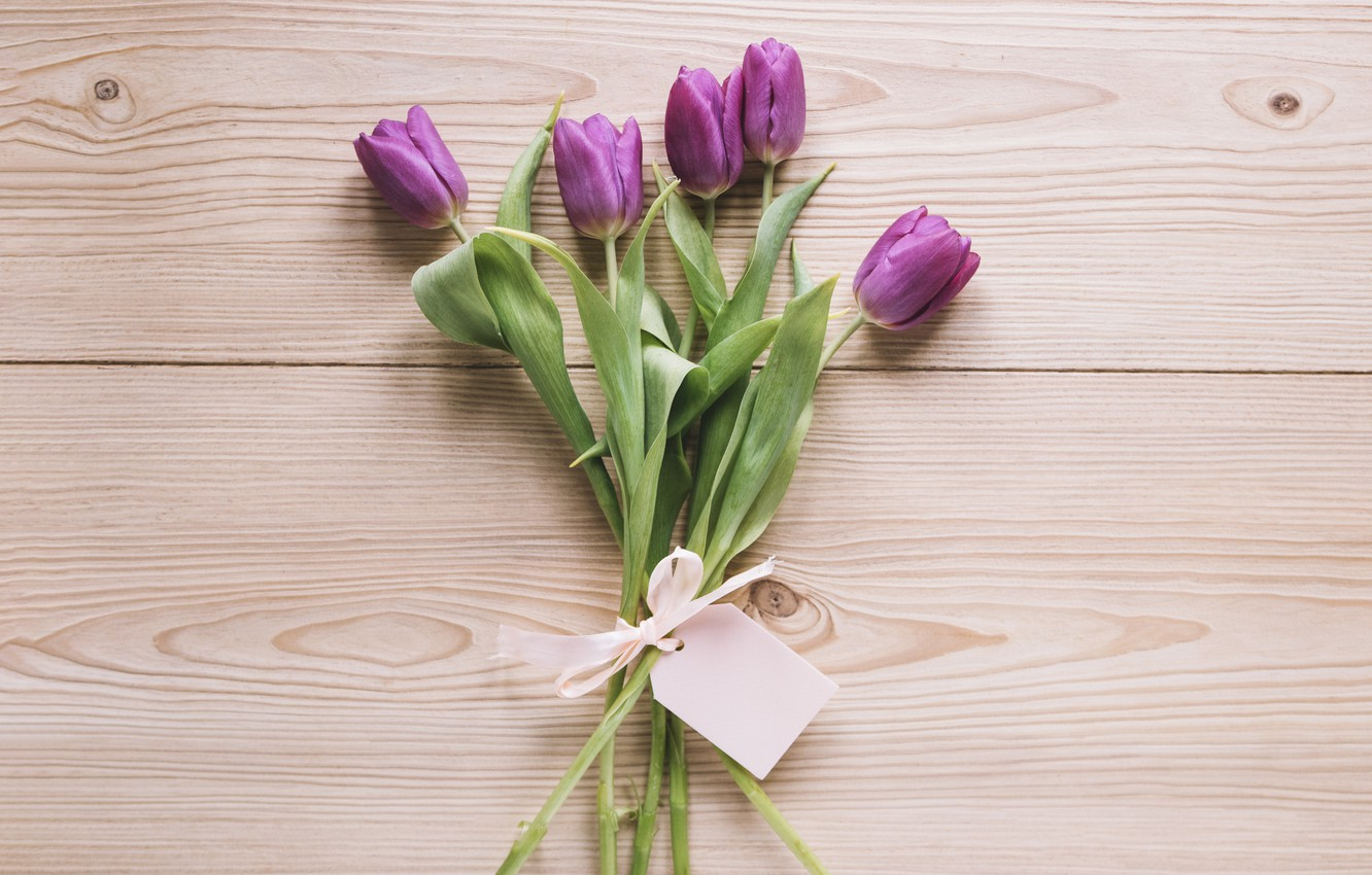 Photo wallpaper flowers, bouquet, tulips, love, fresh, wood, flowers, romantic, tulips, spring, purple, with love