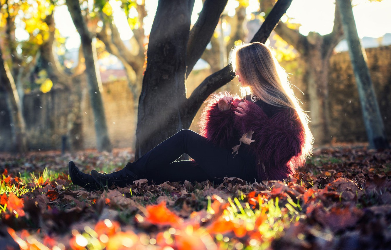 Photo wallpaper autumn, girl, the sun, trees, photo, foliage, model, hair, fur, sitting, Ana Lopez, Paul Gray