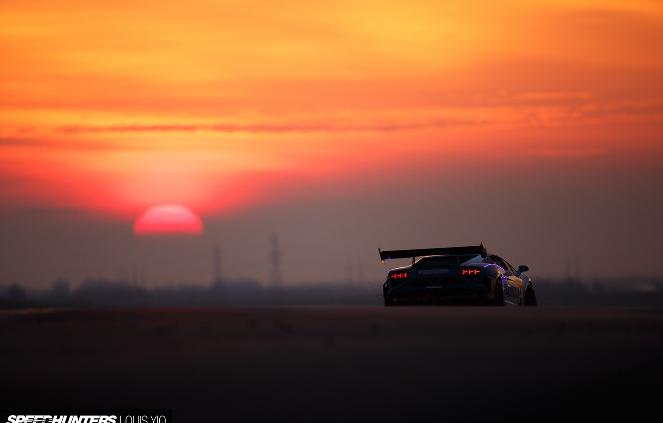 Photo wallpaper the sun, lights, Lamborghini, morning, Gallardo, track, rear view, Super Trophy