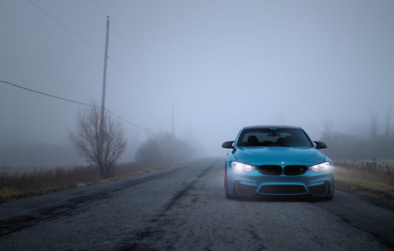 Photo wallpaper BMW, Light, Blue, Autumn, Fog, F80, LED