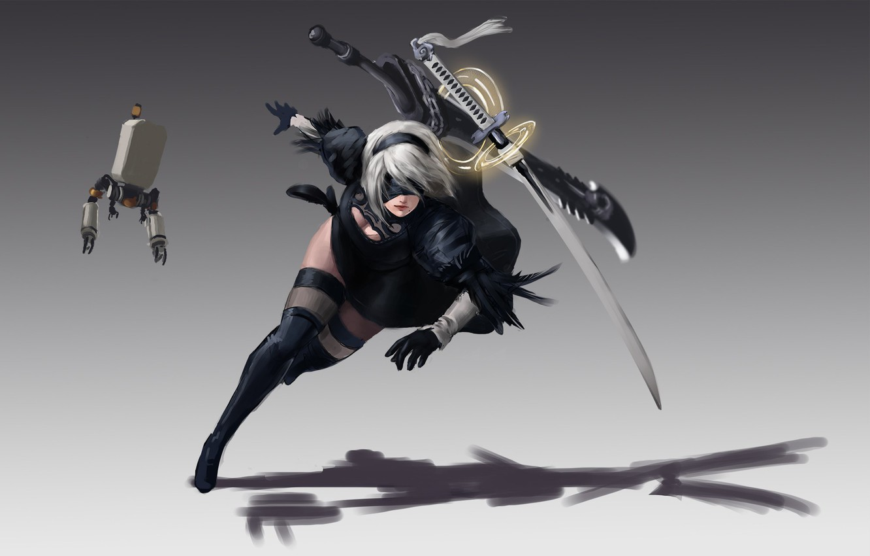 Photo wallpaper girl, sword, robot, katana, ken, blade, warrior, bishojo, guardian, Nier Automata