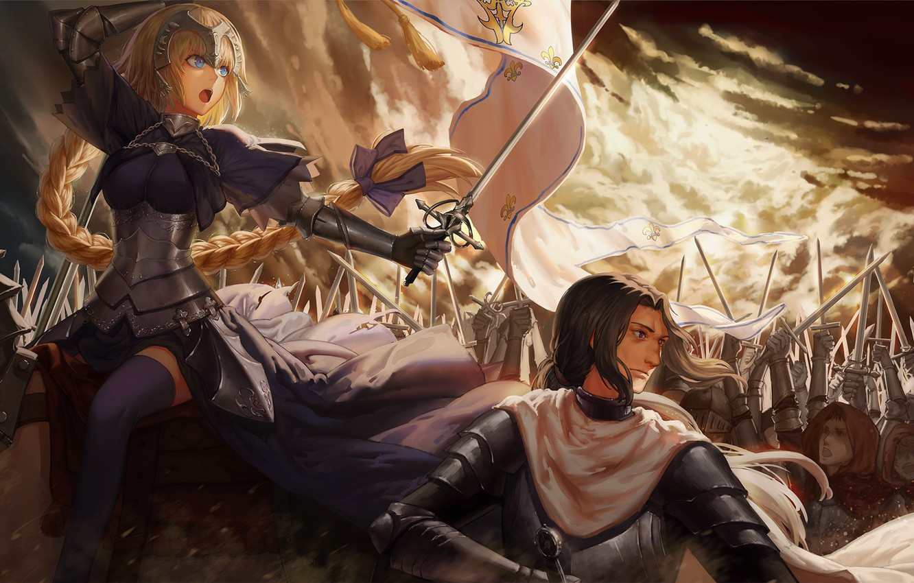 Photo wallpaper weapons, war, anime, art, soldiers, Fate/Grand Campaign