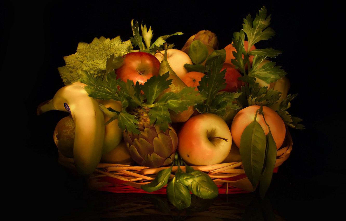Photo wallpaper leaves, Apple, orange, still life, banana, citrus, pear