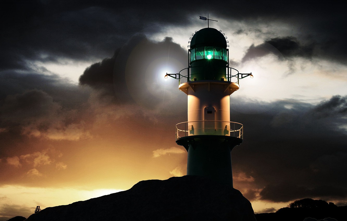 Photo wallpaper the sky, clouds, coast, lighthouse